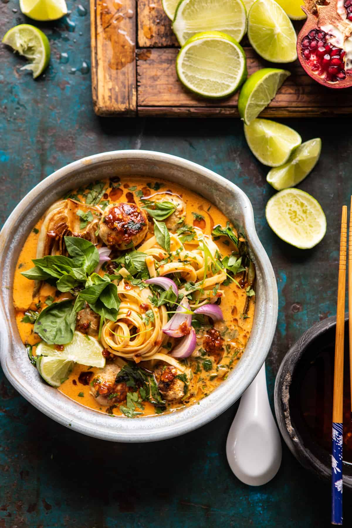 Weeknight Thai Chicken Meatball Khao Soi.